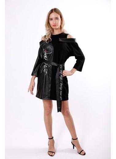 Clıche Deri ve İki İplik Kumaşlı Kuşaklı Elbise Siyah